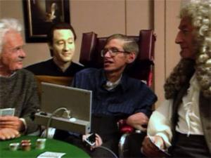 Stephen Hawking im Gespräch mit Commander Data alias Brend Spinner bei StarTrek