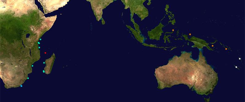 Pazifikkarte mit Quastenflosser-Fundorten